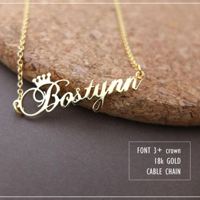 GORGEOUS TALE Stainless Steel Rose Gold Color Any Cursive <font><b>Crown</b></font> Handmade Name Necklace Customized Name Necklace Birthday Gift