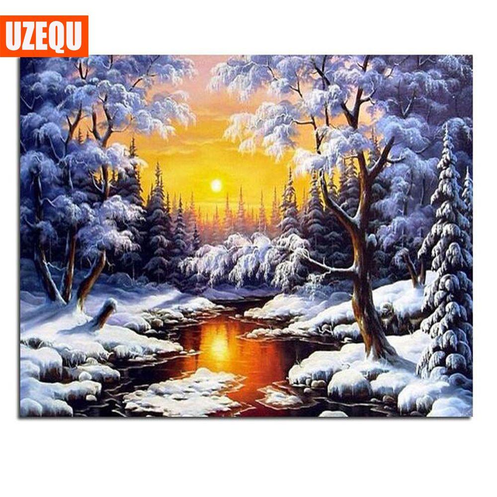 UzeQu 5D DIY Diamond Painting Cross Stitch Diamond Embroidery Full Square Diamond Mosaic Rhinestones Snow Scenery Crafts Decor