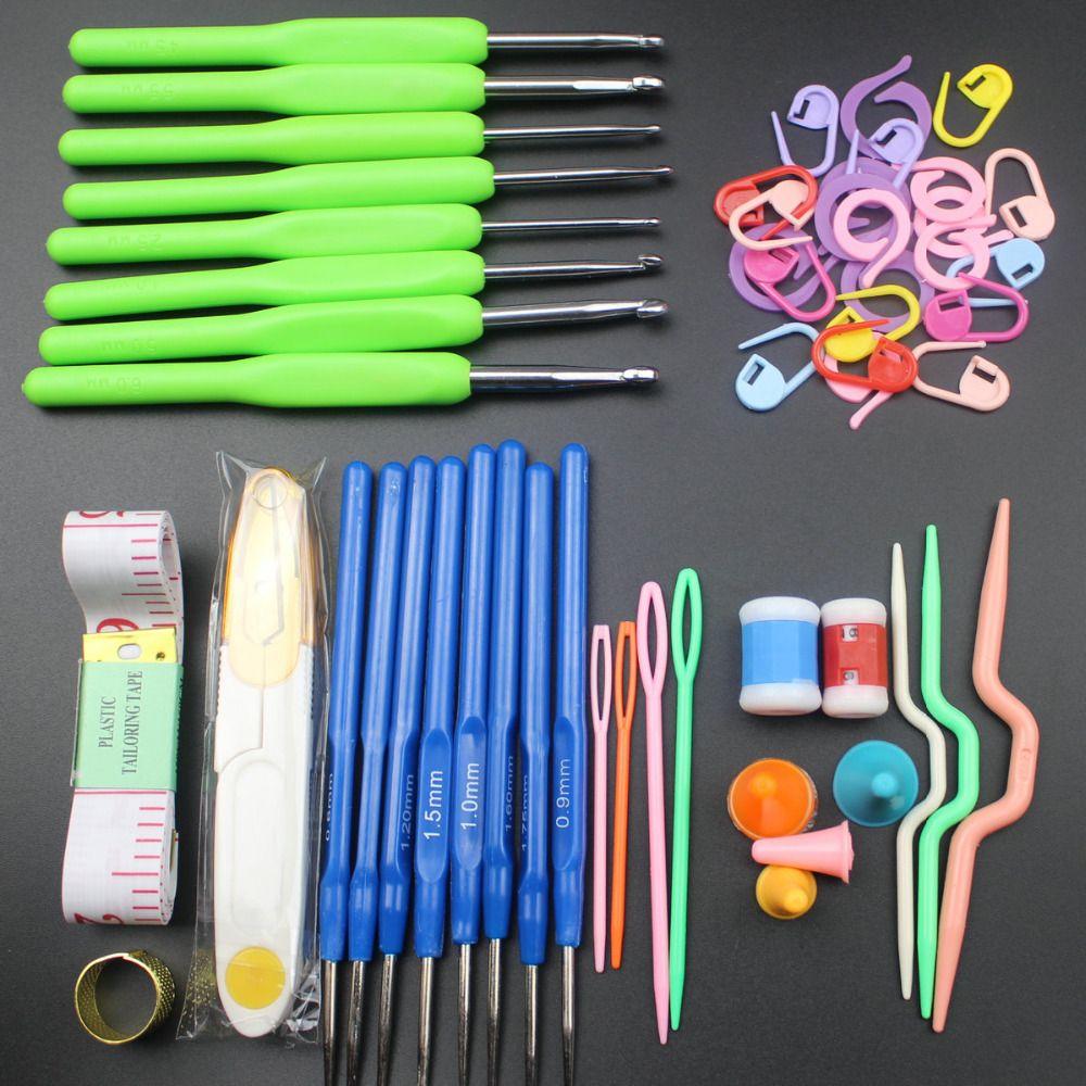 4 Couleurs Durable 16 tailles Coloré Poignée Souple Crochet crochets Aiguilles Points tricot Artisanat Case crochet ensemble en Cas