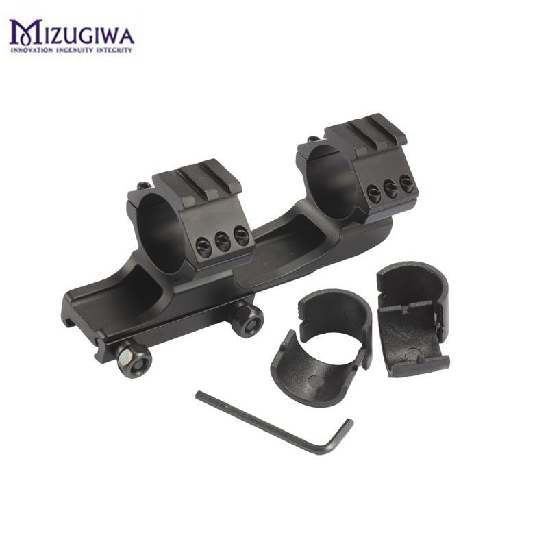 1PC Mizugiwa Scope Mount 25.4mm 30mm Dual Ring Cantilever Heavy Duty Picatinnywith 20mm/11mm  Weaver Rail Hunting Caza Black