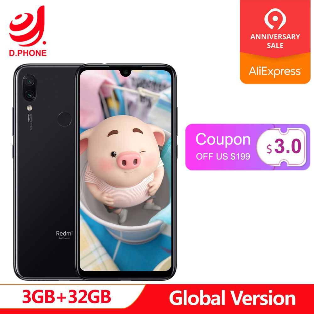 Version globale xiaomi Redmi Note 7 3 GB RAM 32 GB ROM téléphone portable Snapdragon 660 Octa Core 6.3