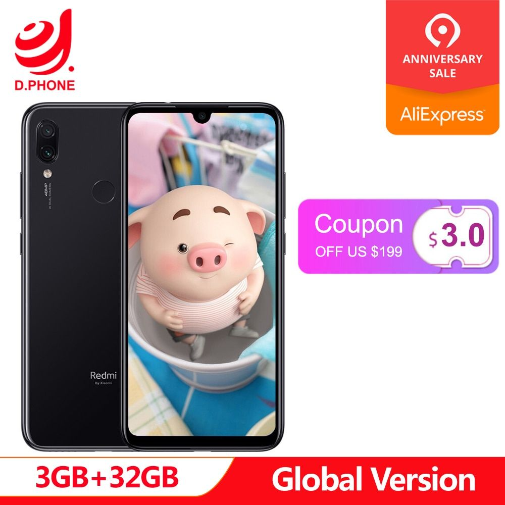 Version globale xiaomi Redmi Note 7 3 GB RAM 32 GB ROM téléphone portable Snapdragon 660 Octa Core 6.3