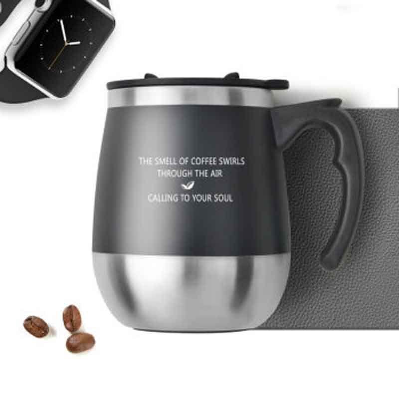 UN JOUR 450 ml Thermo Tasse Café Tasse Tasse De Thé Boisson Tasse Thermos Flacon Verre À Eau Avec Couvercle Noir D'eau Tasses