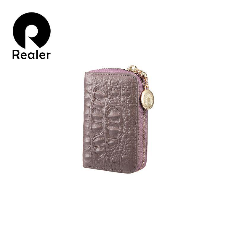 Realer mujeres mini monedero carteras de embrague corto cuero genuino cremallera bolsa de dinero mujer titular de la tarjeta monedero femenino bolsas