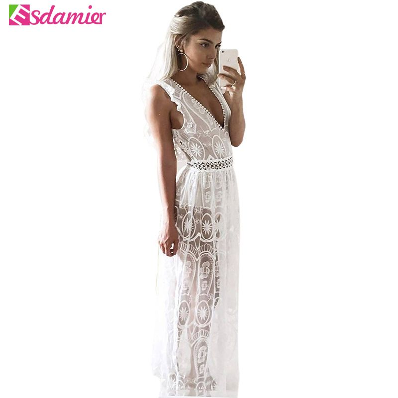 New Women Sexy Deep V Neck Backless Party Dress Slim Crochet Lace Maxi Dress See Through Beach Dress Long Summer Sleeveless Robe