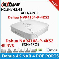 Dahua 4K NVR NVR4104-P-4KS2 4CH with 4 POE NVR4108-P-4KS2 8ch with 4PoE ports replace NVR4104-P NVR4108-P Network Video Recorder