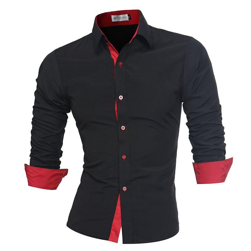 Men Shirt Brand 2017 Male High Quality Long Sleeve Shirts Casual Slim Fit Black Man Dress Shirts Plus Size 4XL