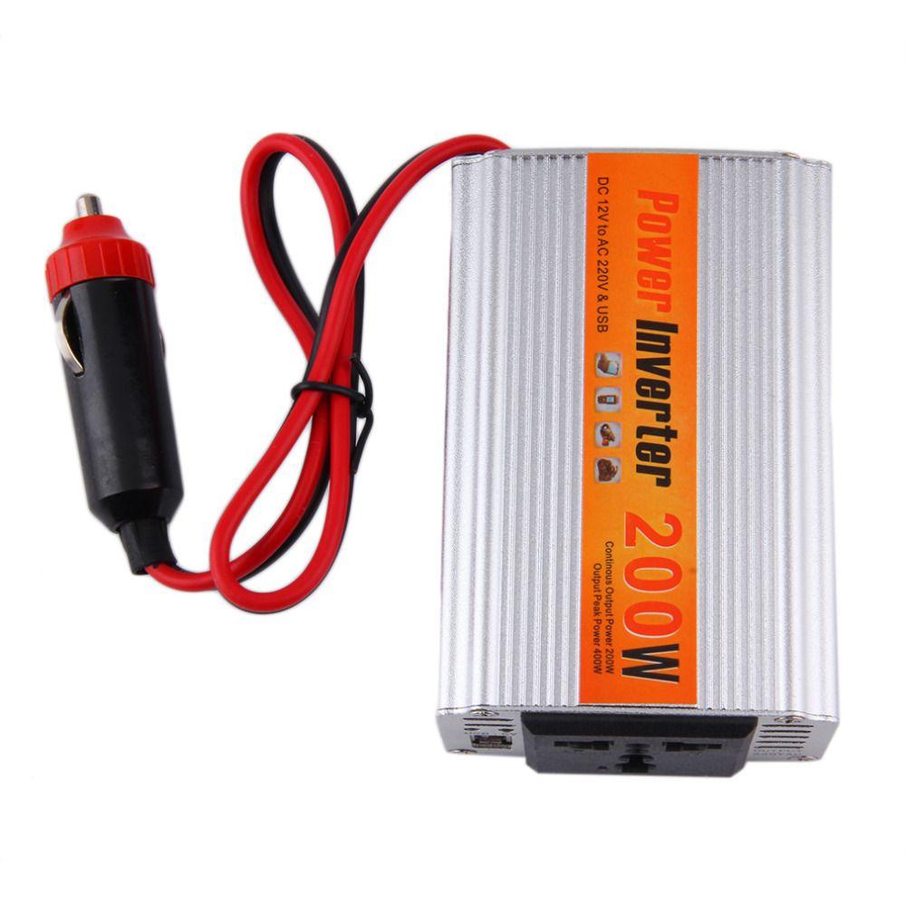 200 Вт авто Инвертор 12 В 220 В с USB Автомобильное Мощность преобразователь 12 В постоянного тока до 220 В автомобильный адаптер 200 Вт стайлинга авт...