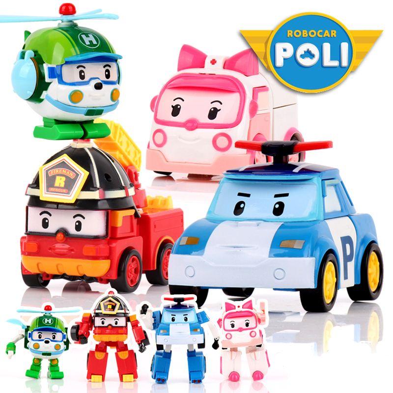 4 pcs/ensemble Robocar Poli Corée enfants Jouets Robot Transformation Anime Action Figure Jouets Pour Enfants