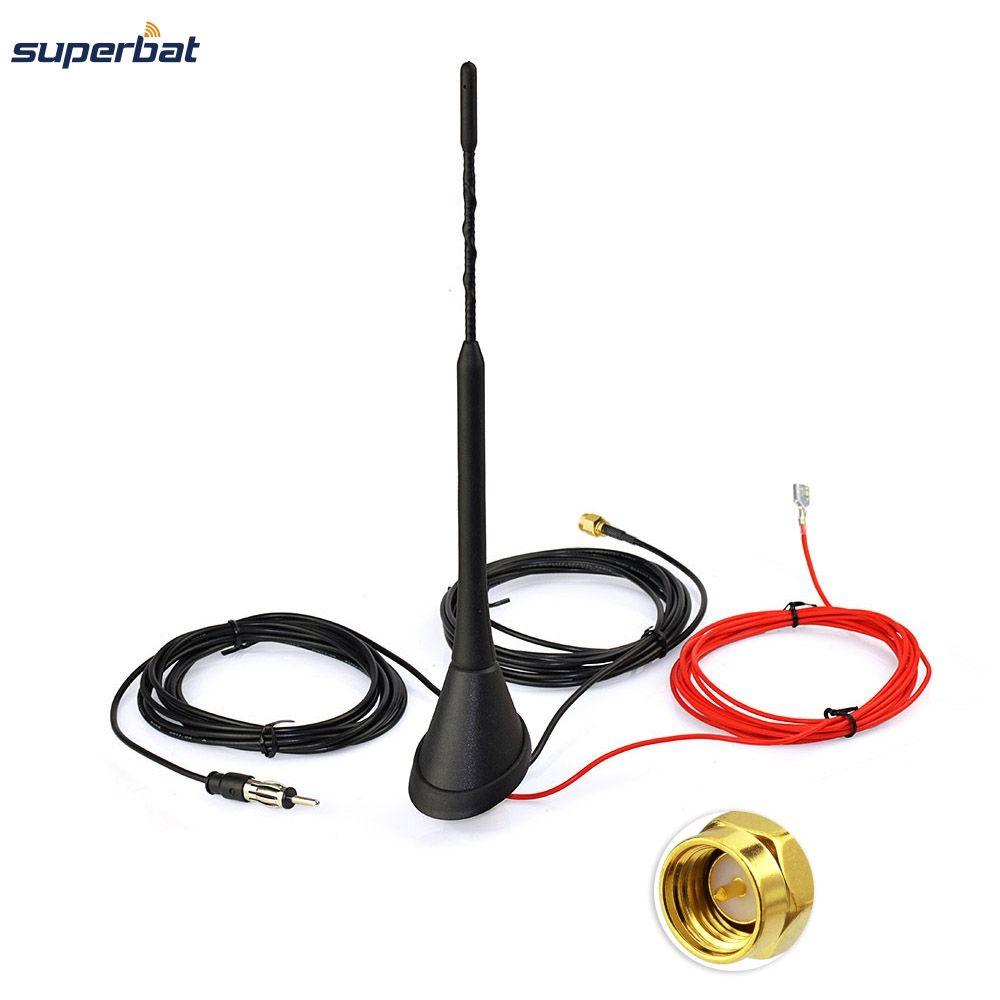 Superbat Voiture Antenne pour DAB DAB + AM/FM Radio Amplificateur Intégré SMA Mâle Connecteur Universel Toit Montage Tige antenne 5 m Câble