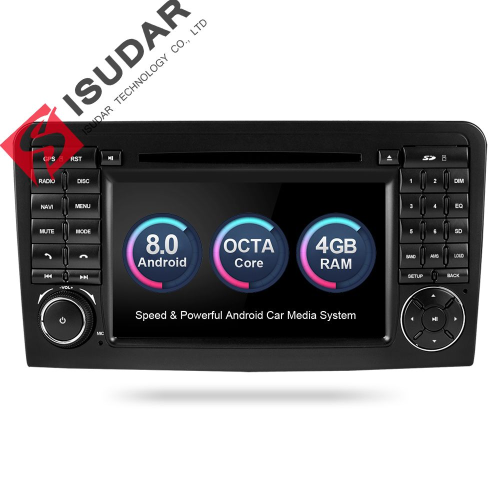 Isudar Car Multimedia Player GPS Android 8.0 2 Din For Mercedes/Benz/GL ML CLASS W164 ML350 4GB RAM DSP Radio Microphone Wifi