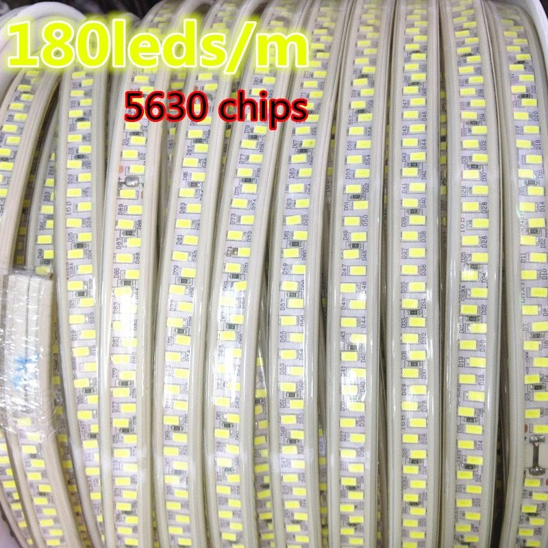 New 220V 180led/m White Color Dimmable Flex LED Tape Super Bright IP65 Waterproof 5630 LED Strip Light