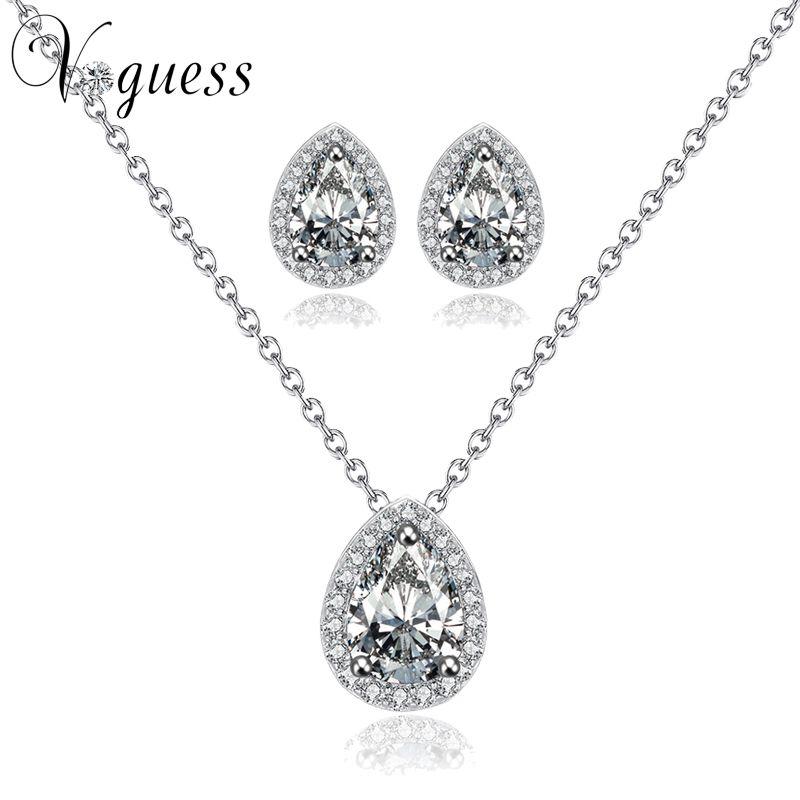 VOGUESS vente chaude fiançailles bijoux ensembles couleur or blanc nuptiale mariage bijoux ensemble parure bijoux femme pas cher bijoux