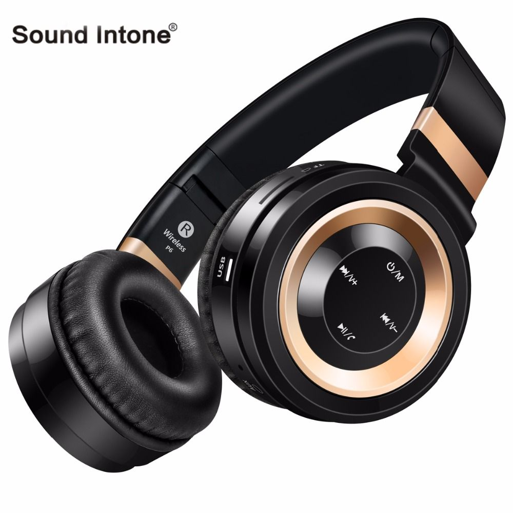 <font><b>Sound</b></font> Intone P6 Bluetooth Headphones Portable Wireless Headphone with Mic Support TF Card Stereo Headset for sony for xiaomi PC