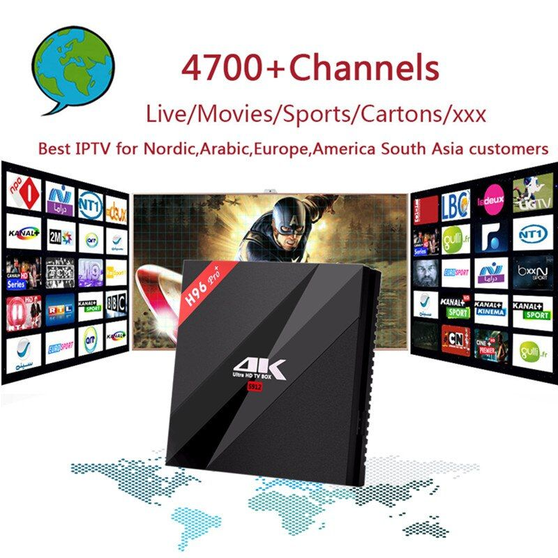 H96Pro+ 3G32G Amlogic S912 Octa-core Android 6.0 +Nordic,Arabic,Europe,America South Asia IPTV with Adult xxx Gift Set Top Box