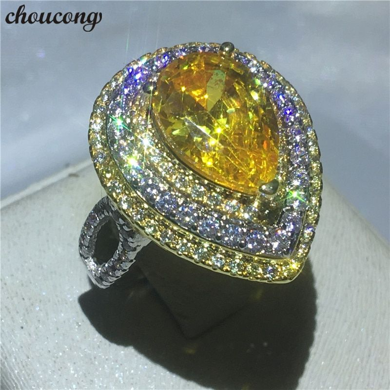choucong Female Luxury Jewelry Pear cut 5A zircon Crystal ring White gold filled Engagement Wedding Band Rings For Women bijoux