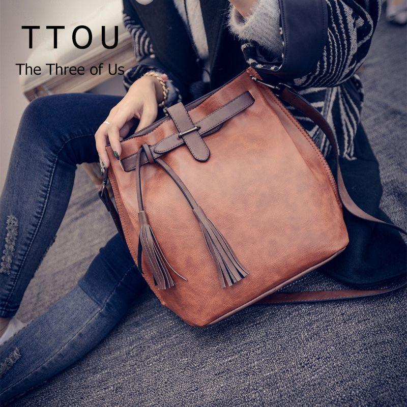 TTOU Tassel Shoulder Bag Women Fashion Designer Bucket Bags Vintage <font><b>Crossbody</b></font> Bag Pu Leather Messenger Bag Hot Sale Handbag
