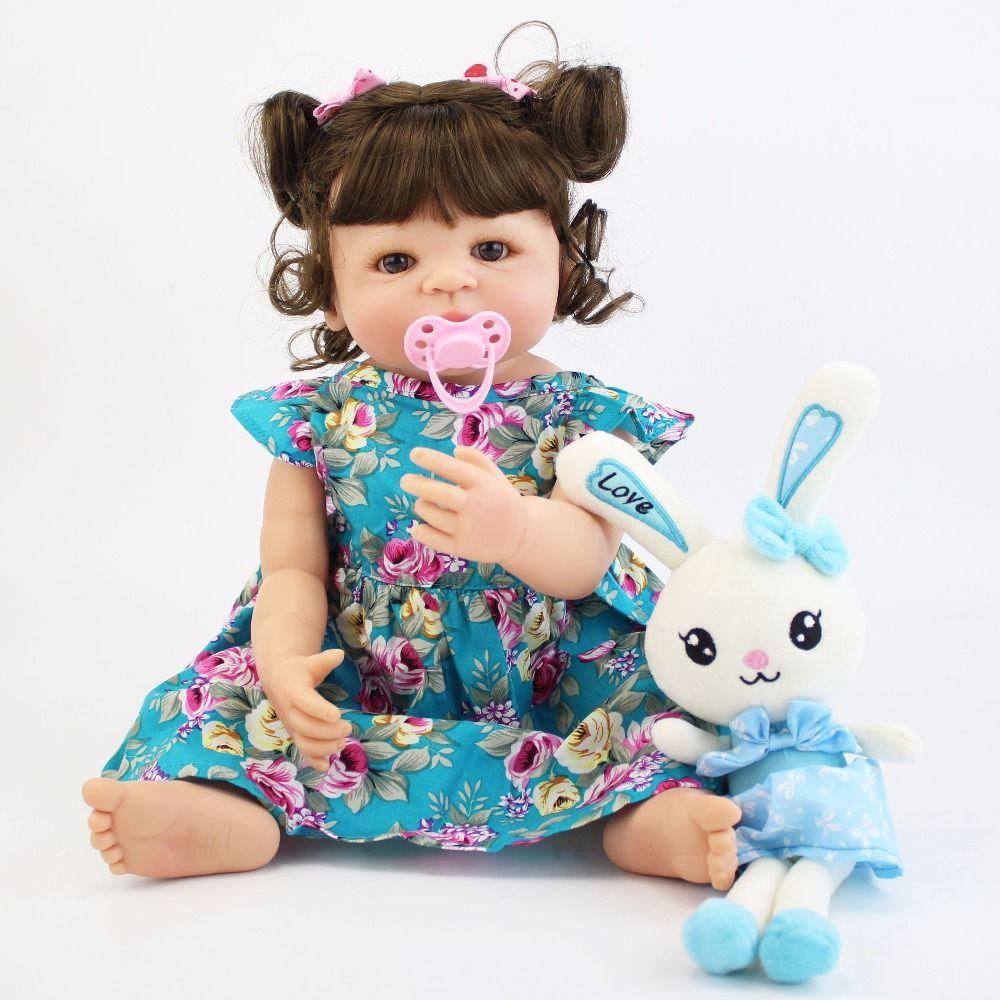 55cm Full Silicone Body Reborn Baby Doll Toy For Girl Vinyl Newborn Princess Babies Alive Bebe Boneca Bathe Toy Birthday Gift