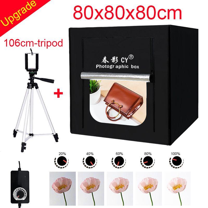 CY 80*80 Photo Studio LED soft box Shooting photo light tent set+3 Backdrops+dimmer switch Children's clothing shoting tent kits