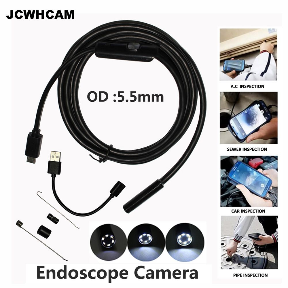 Endoscope JCWHCAM 5.5mm 2IN1 USB Endoscope Android caméra 5 M Tube de serpent tuyau d'inspection 2 M USB Endoskop étanche Endoscope HD
