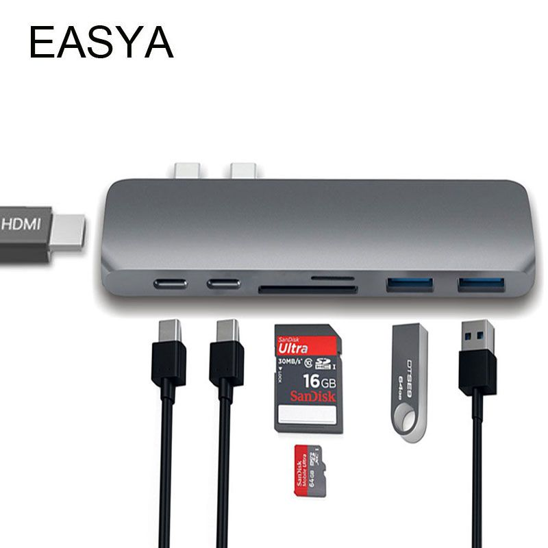 EASY USB-C Hub to HDMI Adapter Thunderbolt 3 USB C Hub Dock with USB 3.0 Hub PD TF SD Card Reader for MacBook Pro 2017 Type C