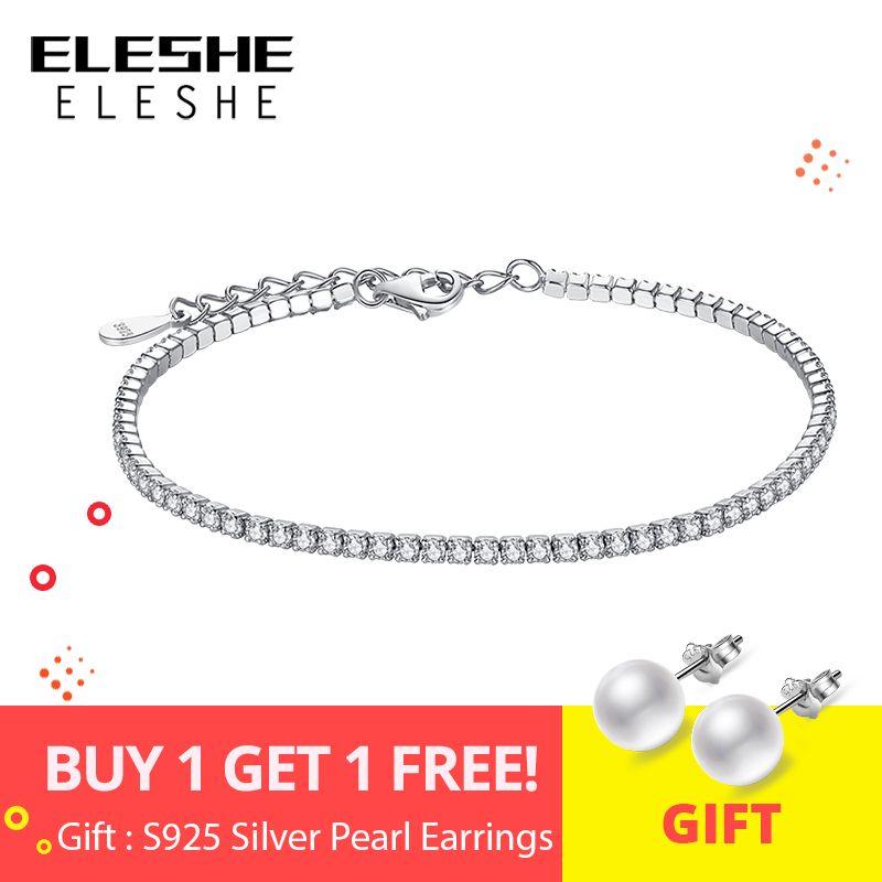 ELESHE 925 Sterling Argent bracelets porte-bonheur Pour Femmes Avec zircone cubique Lien Chaîne De Tennis Anti-allergie Sterling-argent-bijoux
