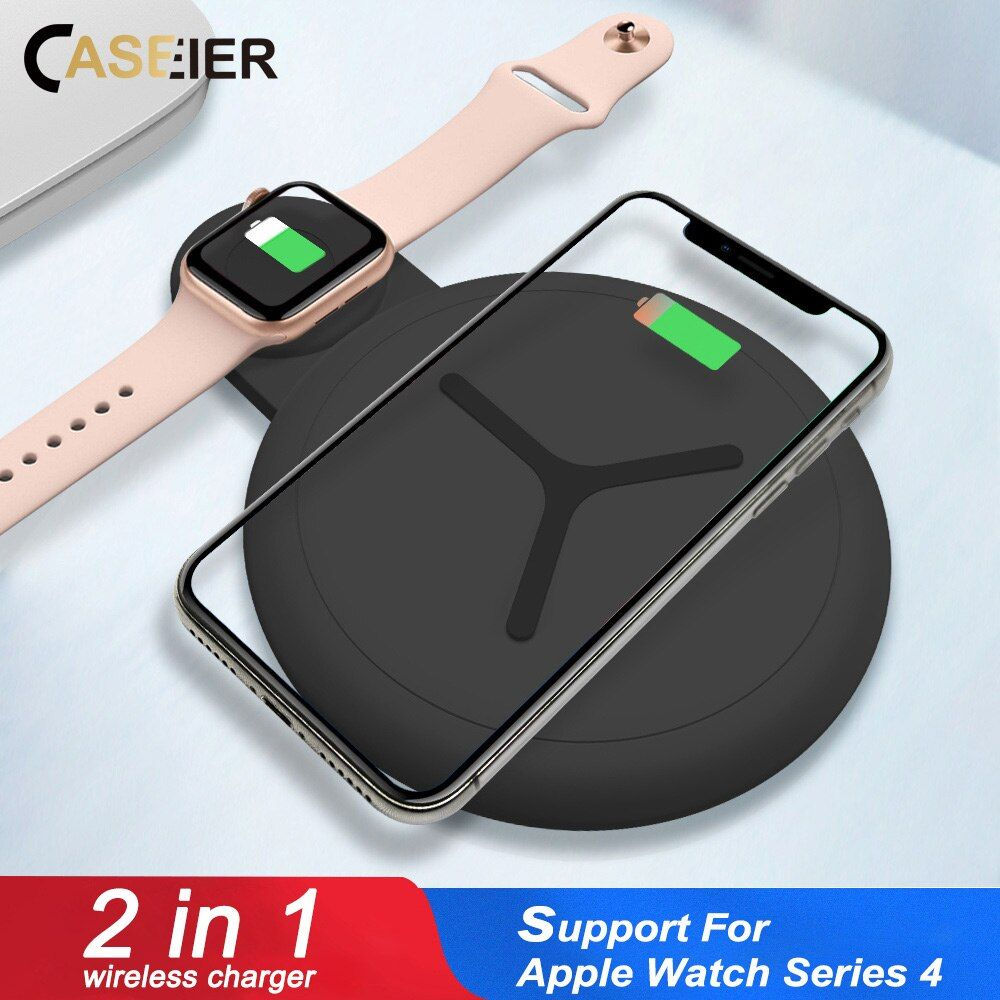 CASEIER 10W 2 in 1 QI Wireless Charger For iPhone X XS Max XR 8 Fast Charger For Apple Watch 4 3 2 Dual Cargador inalambrico