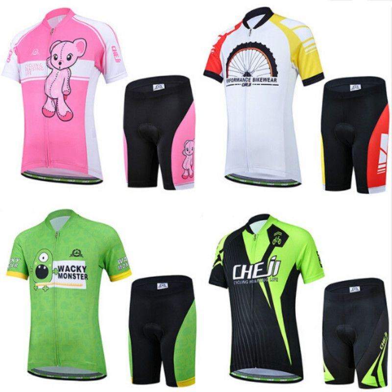 Kids Cycling Clothing Short Sleeve Summer Cycling Jersey Set for Boys Girls MTB Bike Bicycle Ropa Children Bike Wear