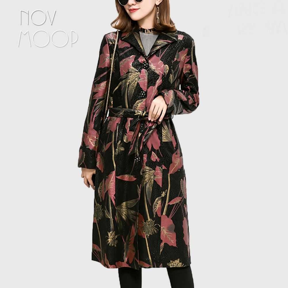 Plus size red floral print genuine leather real lambskin long trench coat outwear windbreaker with belt casaco feminino LT2589