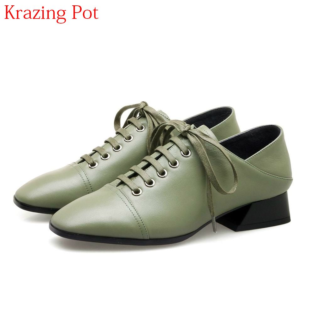 2018 New Arrival Large Size Cow Leather Streetwear Lace Up Square Toe Med Heel Retro Women Pumps Lazy Elegant Oxford Shoes L15
