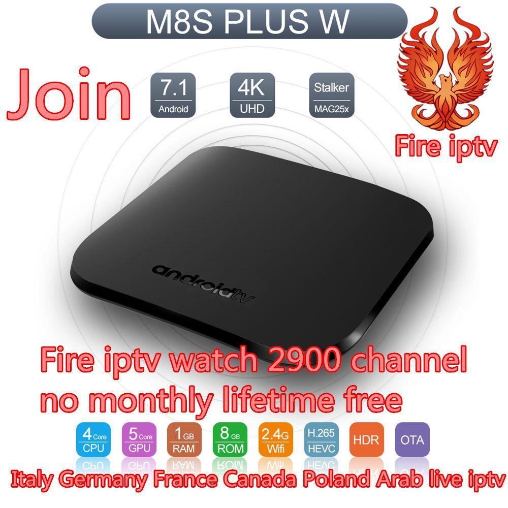 IPTV subscription lifetime free M8S Plus Android Tv Box france italy 2900 free iptv channels m3u europe arabic Smart set top box