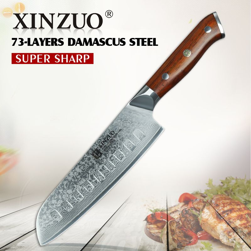 XINZUO 7'' inch Santoku Knife Japanese Damascus Steel Chef Knife Kitchen Professional vg10 Knife for Hotel or Restaurant Kitchen