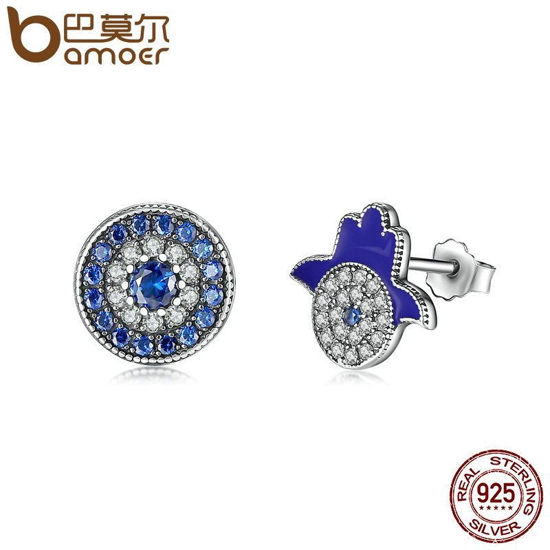 BAMOER Authentic 925 Sterling Silver Blue Eyes Crystals God's Hand Eves Stud Earrings , Clear CZ Sterling Silver Jewelry SCE042