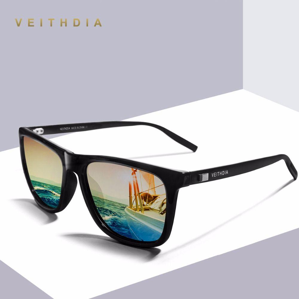 Veithdia unisexe rétro en aluminium + tr90 polarisées hommes lunettes de soleil marque designer miroir vintage conduite lunettes de soleil pour femmes shades