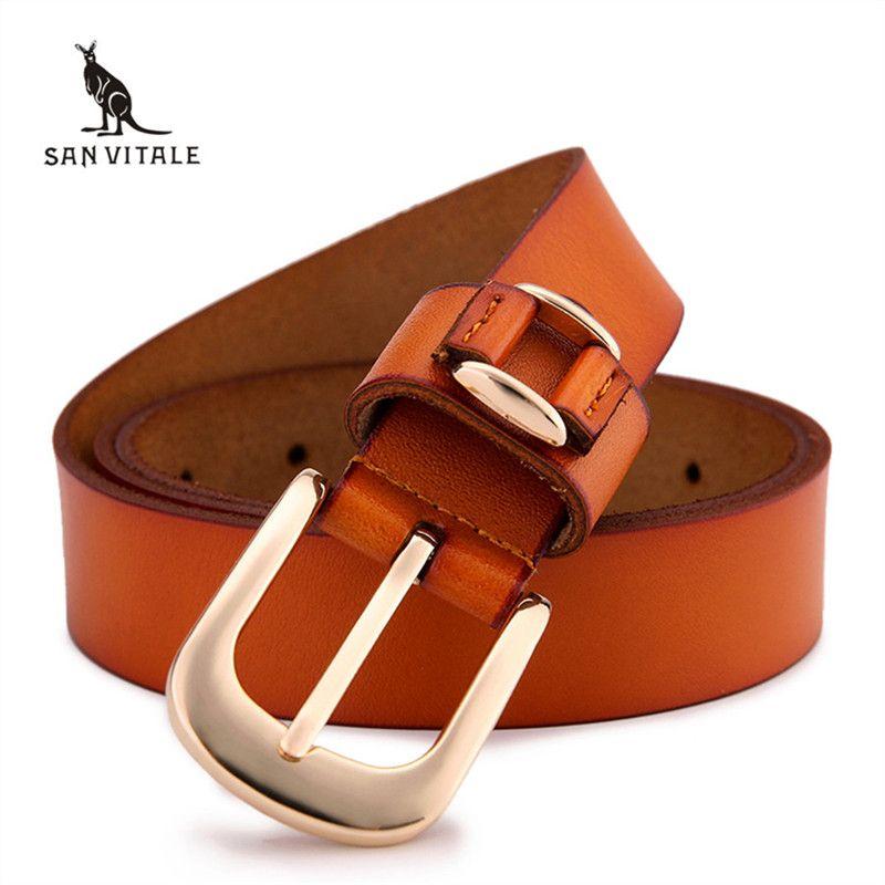 2016 femmes marque nouveau rétro décontracté sauvage Ms. véritable boucle de ceinture en cuir 100% pur cuir ceinture femmes jeans ceintures livraison gratuite