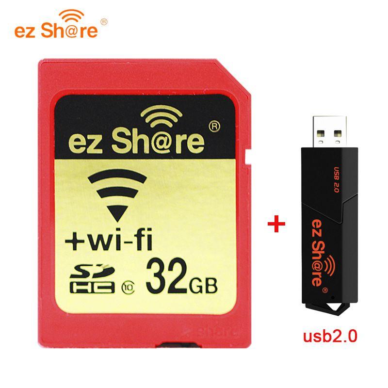 2019 nouveau 100% original capacité réelle Ez partager Wifi carte Sd lecteur de carte mémoire 32G 64G 128G C10 pour appareil photo livraison gratuite