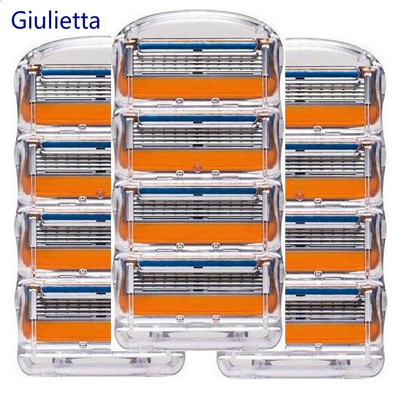 Giulietta Hommes Lames de Rasoir Haute Qualité Rasage Cassettes Soins Du Visage Compatible avec Gillettee Fusione Rasage Lames 12 pcs/boîte