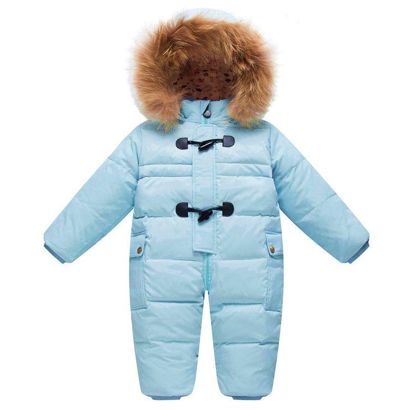 Frío Invierno Trajes de Ropa de Bebé Recién Nacido de Los Mamelucos Calientes Enfant Snowsuit Outwear Cuello de Piel de Pato Impermeable Mono Chico Chica