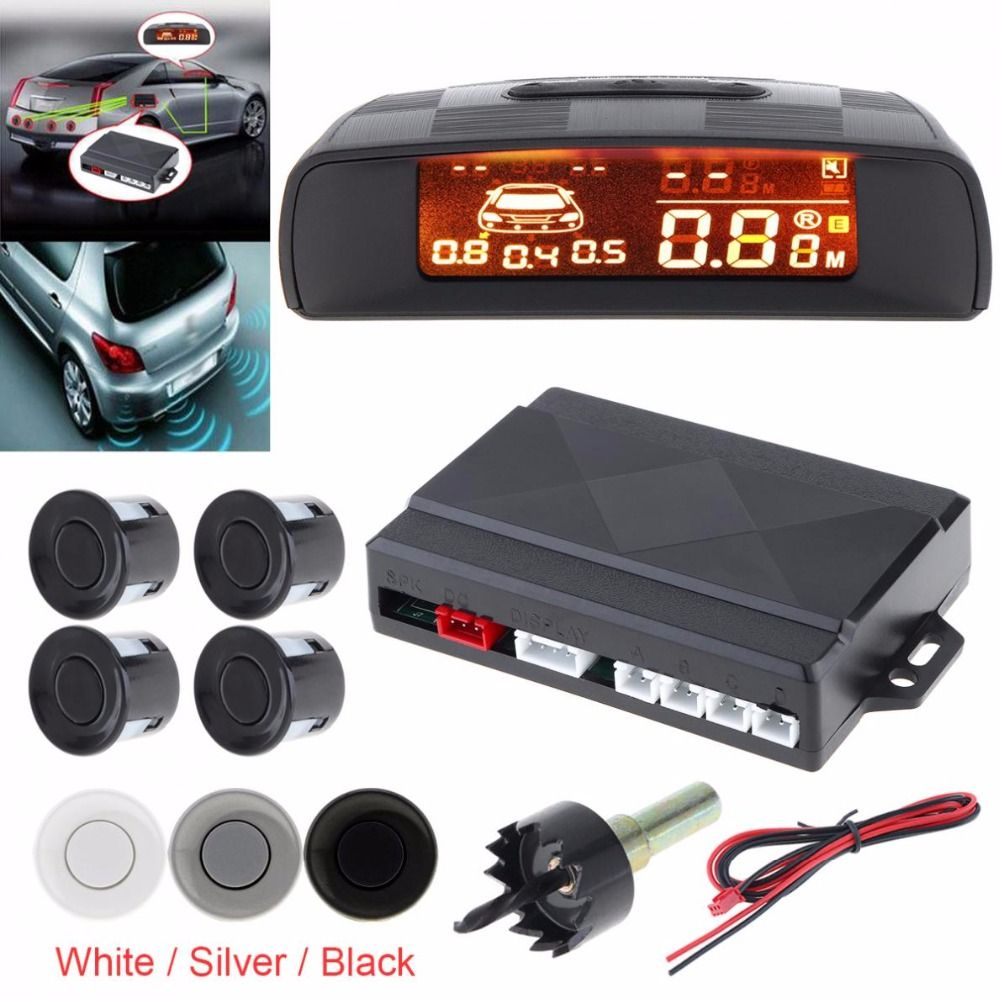 Car Parktronic LED Parking Sensor with 4 Sensors Reverse Backup Car Parking Radar Monitor Detector System with LCD Display