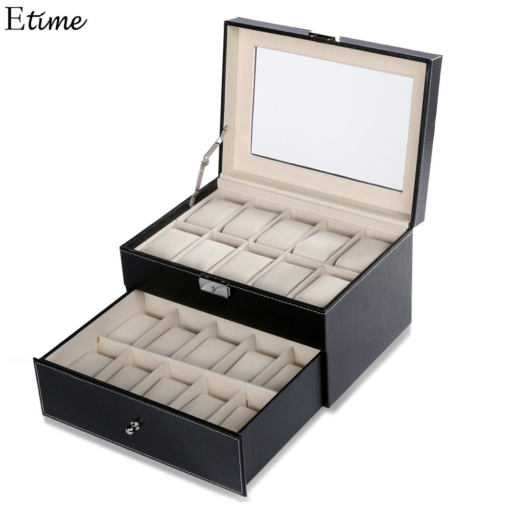 FANALA 20 Grid Watch Box Slots Jewelry Organizer Watches Boxes Display Storage Box Case Leather Square Jewelry Boite Montre