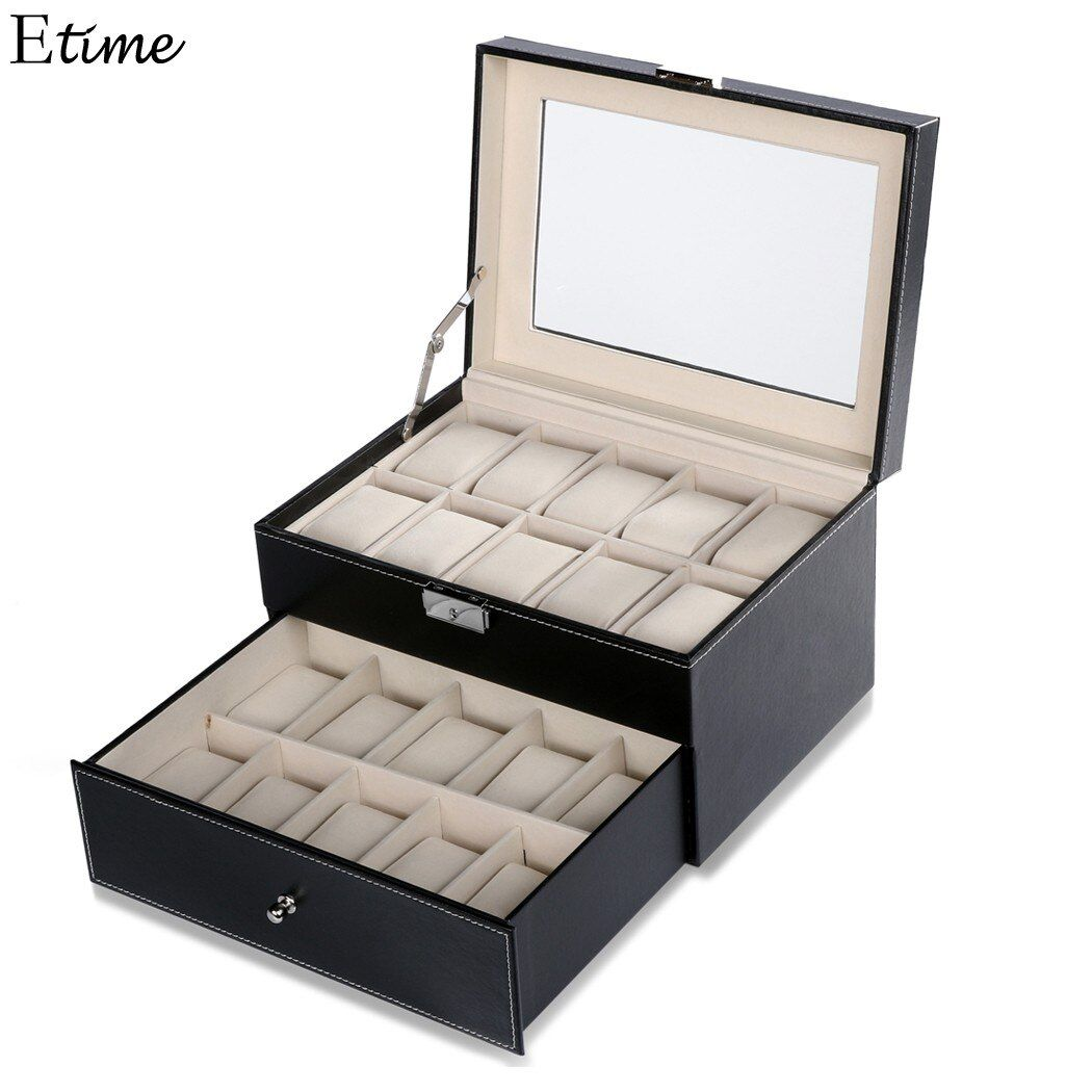 FANALA 20 Grille Slots Bijoux organisateur Montres Boîtes Affichage Boîte De Rangement Case En Cuir Carré bijoux