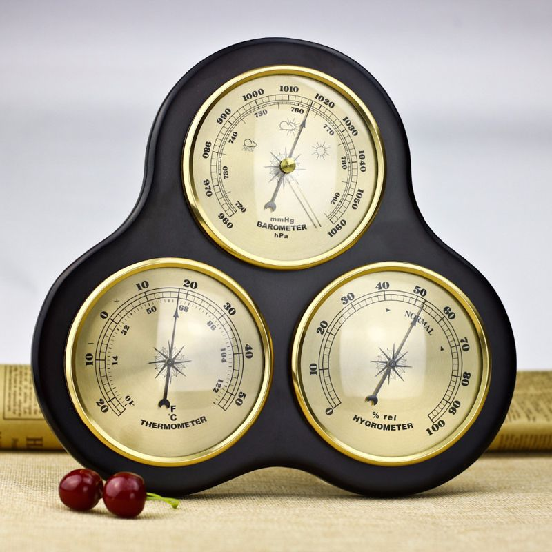 3Pcs/Set Triangle Hygrometer Manometer Thermometer Barometer With Wooden Gift Ornaments/Wooden Weather Station Instrument