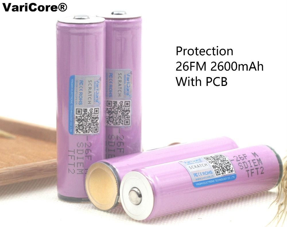 VaricoreProtected100 % Marke Neue Original 18650 icr18650-26fm 2600 mah Li-Ion 3,7 VRechargeable Batterie withPCB für Taschenlampe ues