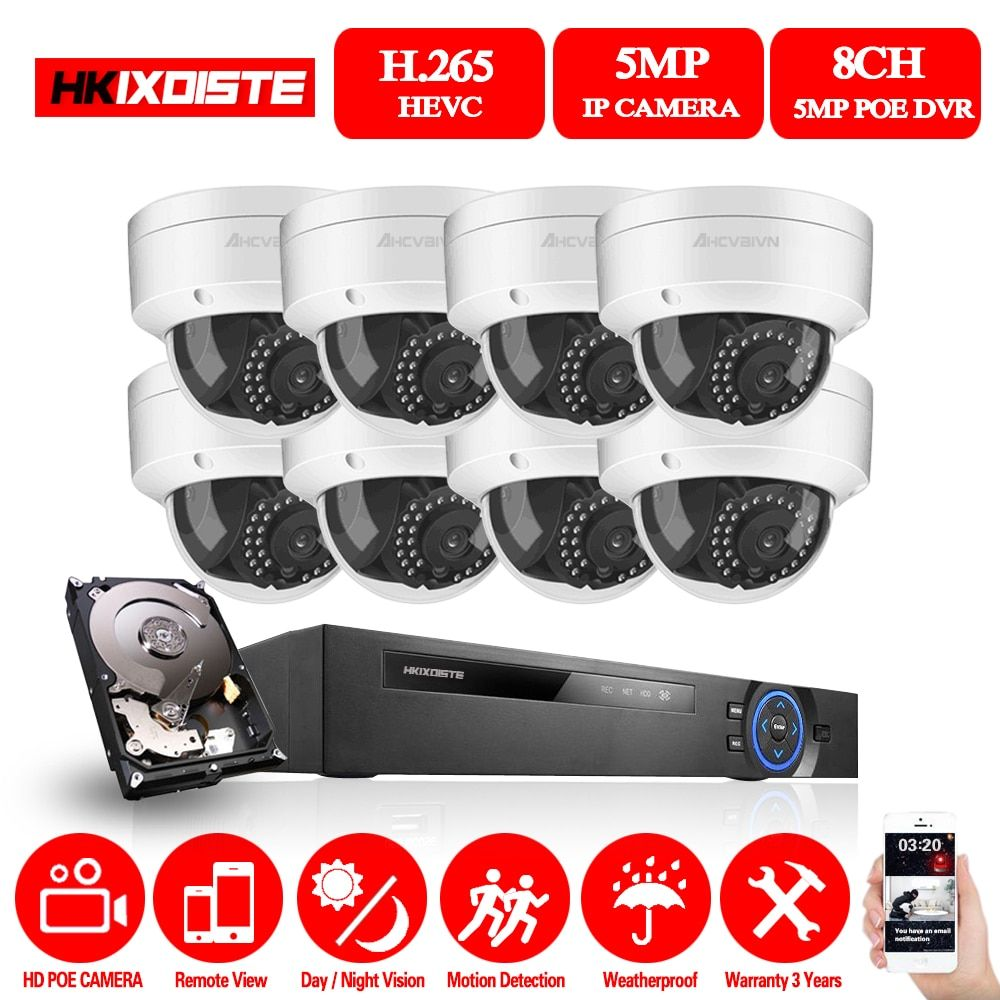 HD 8CH NVR 5.0MP POE CCTV kamera System Kit 5MP Indoor Outdoor Wasserdicht IP Kamera POE home security Video Überwachung set Pri