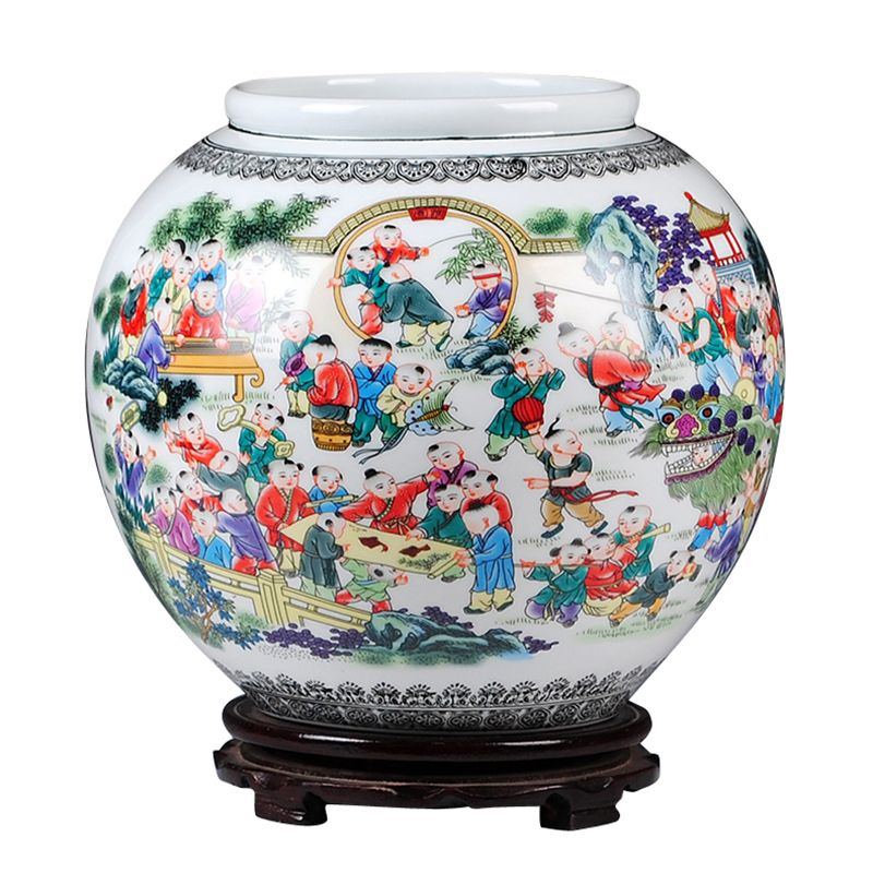 Jingdezhen Ceramics Hundred Children Playing Games Cylinder Vases Flower Receptacle Chinese crafts Sitting Room