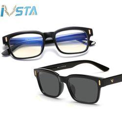 IVSTA Blue Light Glasses Frame Men Computer Glasses Myopia Sunglasses Gaming Geek Nerd Anti Blue Ray Prescription Lens Optometry