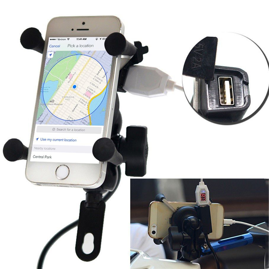 360 Degree Rotation Mount 3.5-6.3 inch Mobile Phone GPS Universal Holder Stand Motor cycle Phone Holder With 5V USB Charger Port