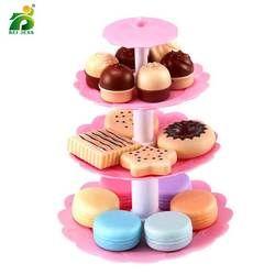 BEI JESS 23PCS Girl Pink Cake Tower Mini Cookie Food Set Plastic Kitchen Toys Kids Pretend Play Birthday Gift