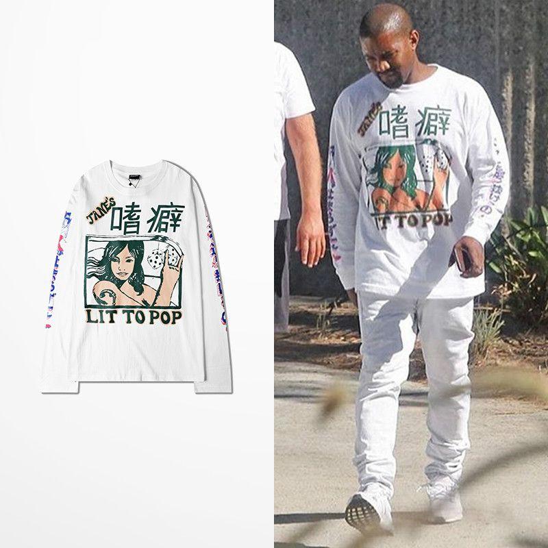 Kanye West Coast T Shirt Long Sleeve Men Hip Hop High Street Lit To Pop Tane's Print Vikings T-shirt Drake Souls Tee Shirt Homme