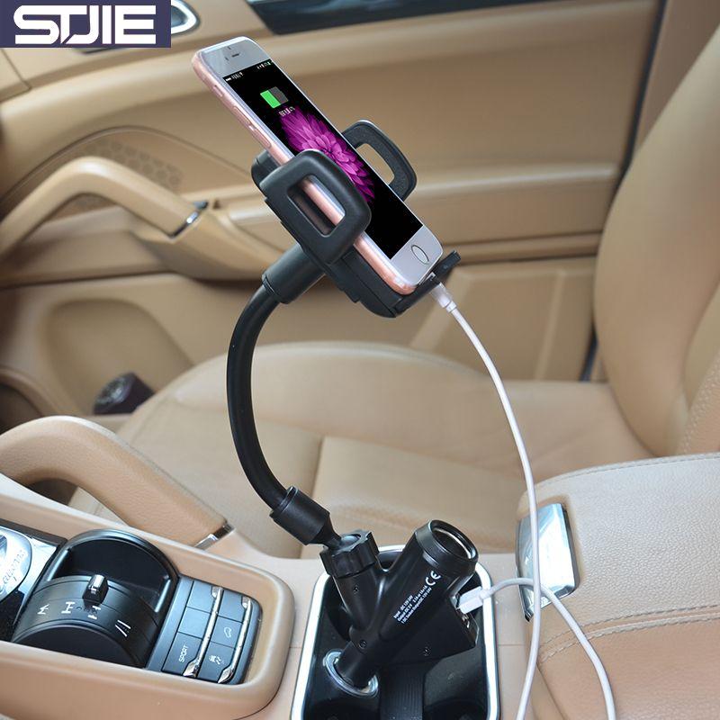 STJIE universel de voiture support de téléphone portable réglable stand téléphone support support voiture avec chargeur pour Iphone Galaxy xiaomi note